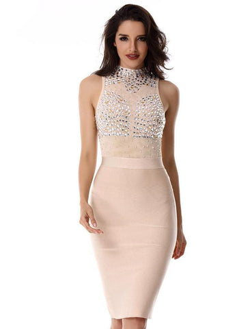 Bandage Dress with Beading Crystals for Women | Vestido Bodycon con aplicaciones de crystal,YALIBELLA