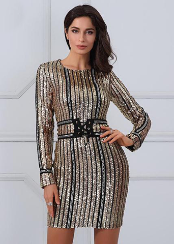 Beautiful black and gold sequin dress | Vestido elegante con lentejuelas en negro con dorado,YALIBELLA
