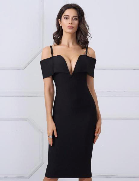 Beautiful Elegant Black Dress with an off the shoulder V-neck,YALIBELLA