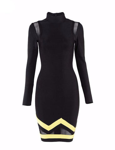 Black dress -knee length with yellow stripes | Elegante Vestido negro con rayas amarillas,Dress | Vestido,YALIBELLA