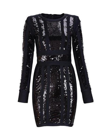 Black Sequined long sleeve dress in black, red and apricot for Women,Dress | Vestido,YALIBELLA