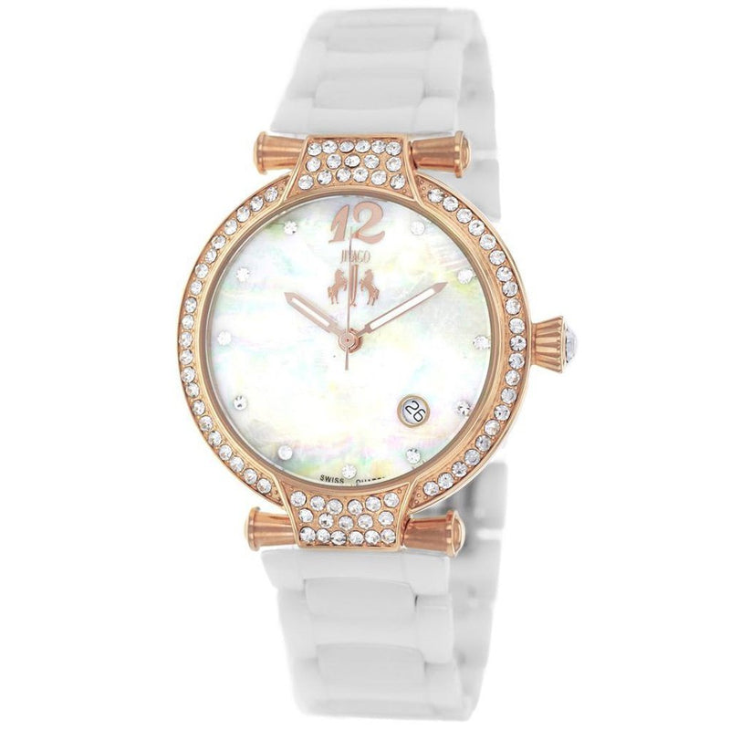 Gold and White Ceramic Women's Bijoux JIVAGO Watch | Reloj blanco con Rosa Dorado para Mujer,Watch | Reloj,YALIBELLA