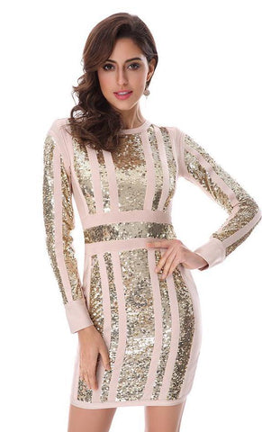 Sequined Long Sleeve Dress for Women | Vestido de Lentejuelas a la Rodilla Manga Larga para Mujer,Dress | Vestido,YALIBELLA