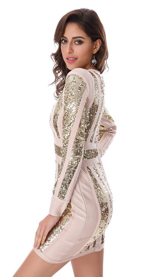 Sequined Long Sleeve Dress for Women | Vestido de Lentejuelas a la Rodilla Manga Larga para Mujer,YALIBELLA