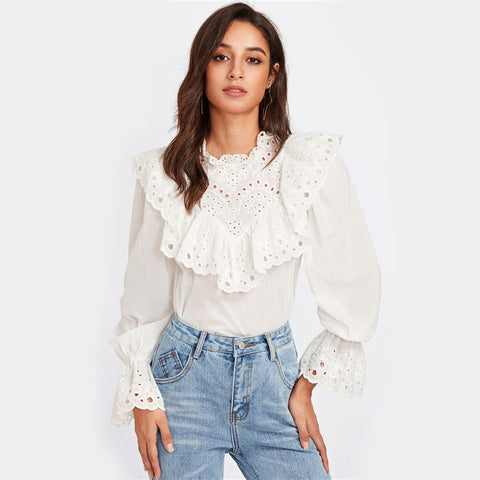Ruffle and Bell Cuff Blouse