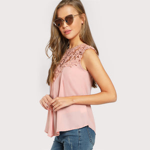 Lace Shoulder Shell Top