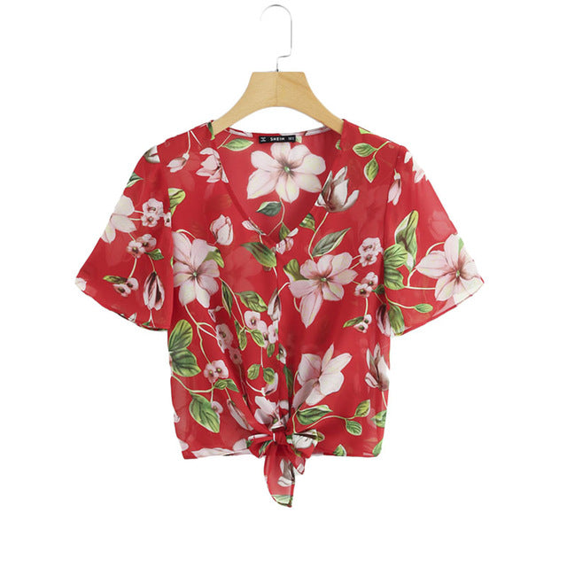 Red Flower Print Knot Top