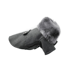 Woolen Fur Collar Dog Coat