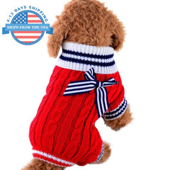 Knitted Dog Sweater With Cute Bow Red / Xs Clothes
