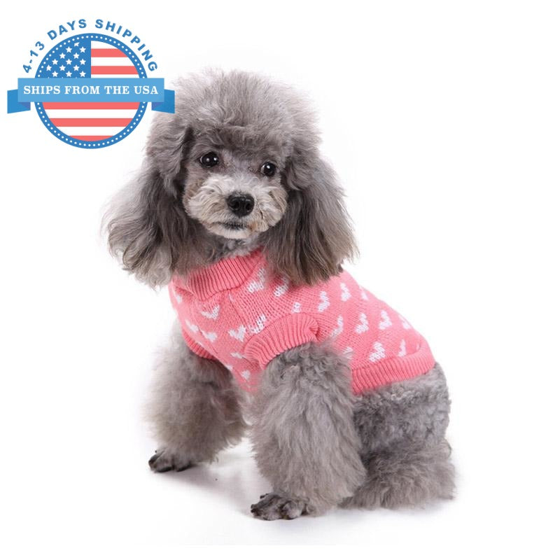 Knitted Heart Print Dog Sweater Clothes