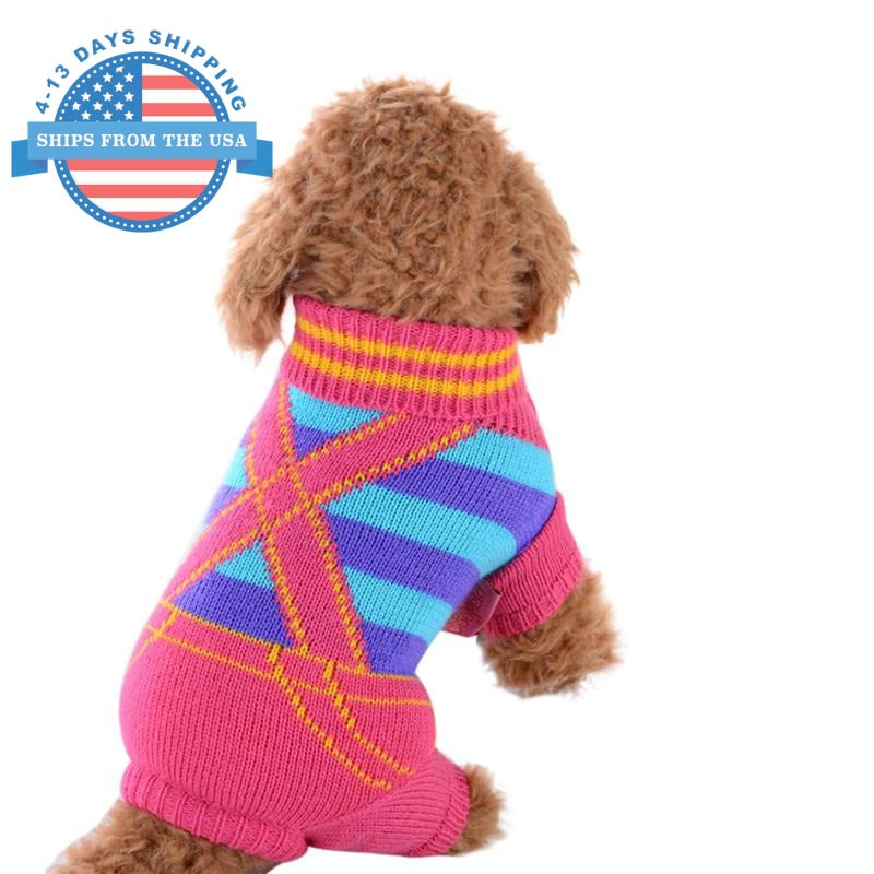 Knitted Jumper Print Doggie Sweater Pink / S Clothes