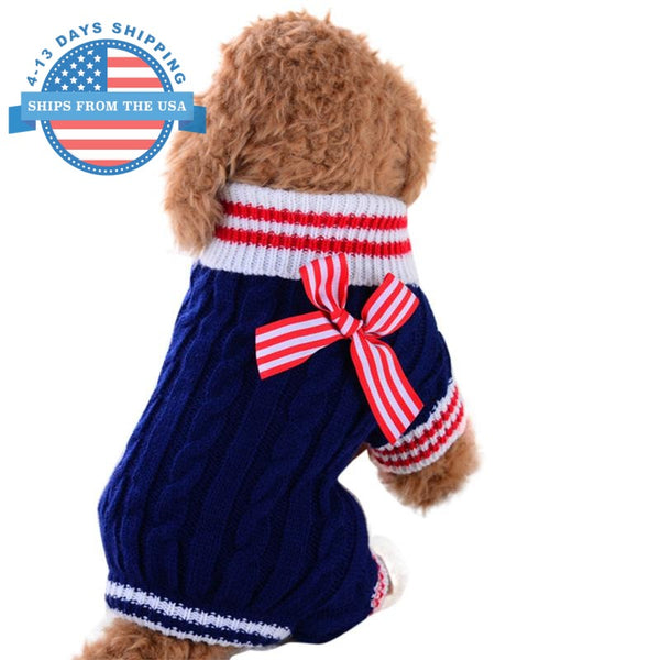Knitted Dog Sweater With Cute Bow Blue / Xs Clothes