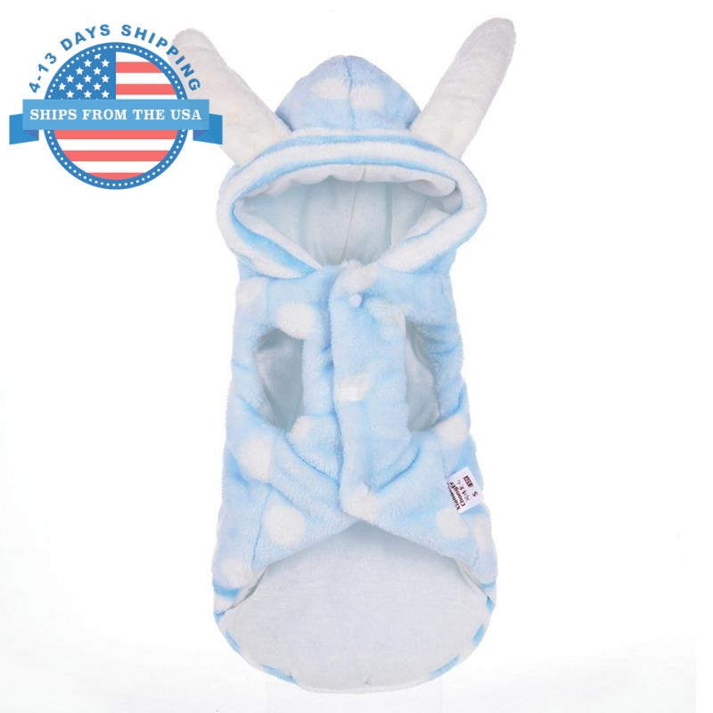 Polka Bunny Doggie Hoodie Blue / L Clothes