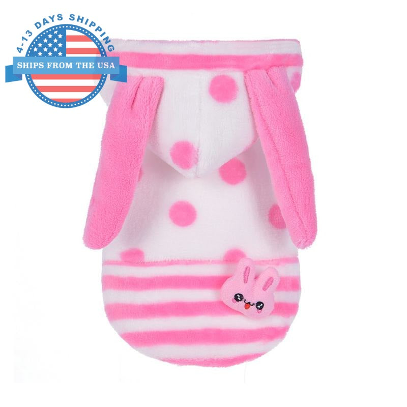 Polka Bunny Doggie Hoodie Pink / L Clothes