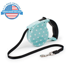 Automatic Retractable Pet Leash Blue Dots Collars / Leashes