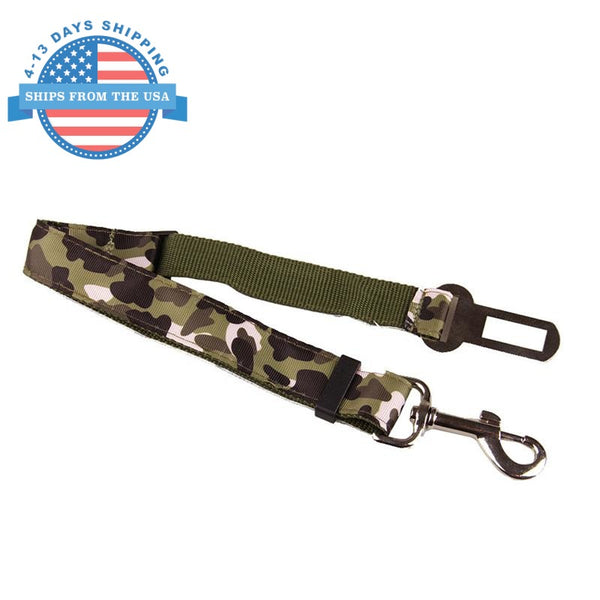 Camouflage Car Seat Belt Lead Clip For Pets Green Collars / Leashes