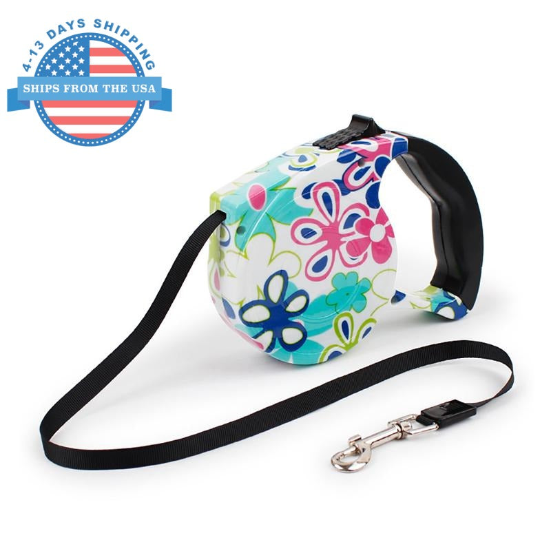 Automatic Retractable Pet Leash White Flora Collars / Leashes