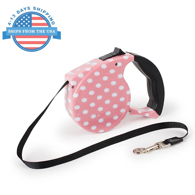 Automatic Retractable Pet Leash Pink Dots Collars / Leashes