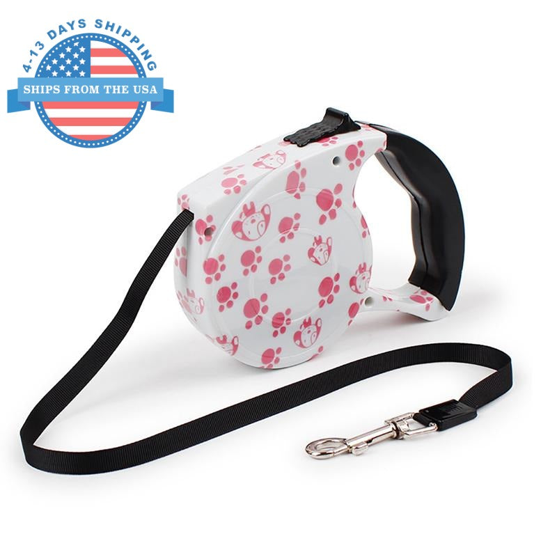 Automatic Retractable Pet Leash Pink Paw Collars / Leashes