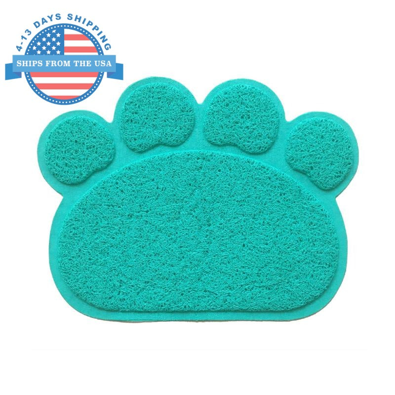 Paw Shape Feeding Mat Cyan Accessories