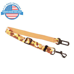 Camouflage Car Seat Belt Lead Clip For Pets Mustard Collars / Leashes
