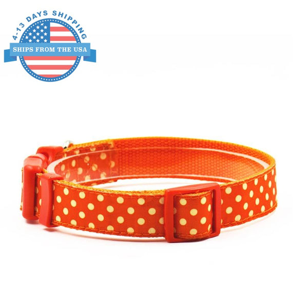 Fun Printed Collars For Pets Orange Dots / Leashes