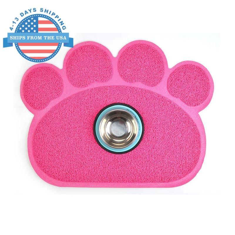 Paw Shape Feeding Mat Pink Accessories