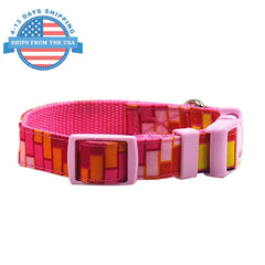 Fun Printed Collars For Pets Pink Stripes / Leashes