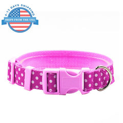 Fun Printed Collars For Pets Pink Dots / Leashes