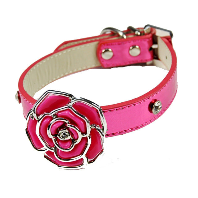 Rose Bling Dog Collar