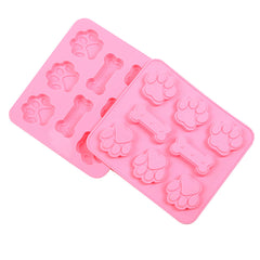 New 3D Dog Foot And Bone Silicone Ice Cube Chocolate Cake Cookie Soap Mould Mold