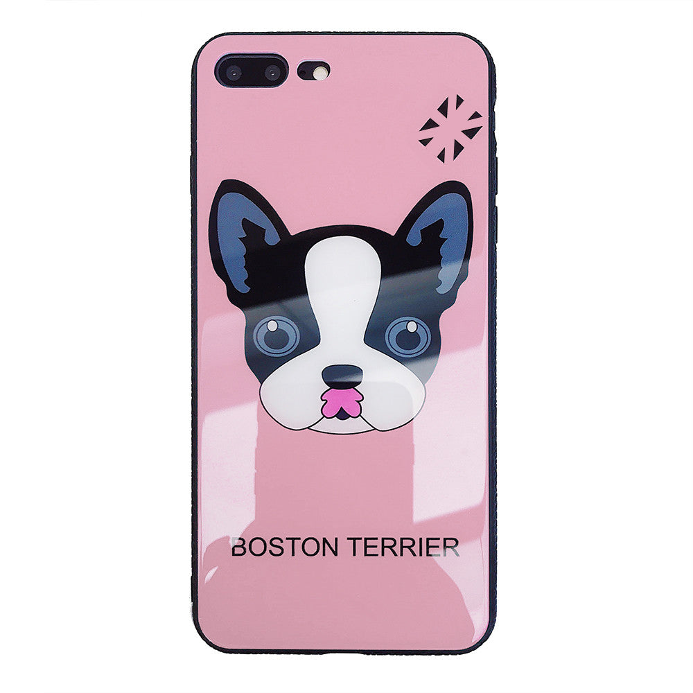 Boston Terrier Dog Protection Shell Soft TPU Frame Back Cover Tempered Glass Cellphone Case for IPhone 6/6S IPhone 6/6Splus IPhone 7/8 IPhone 7/8plus IPhone X