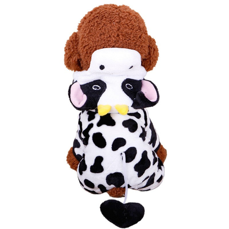 Cute Dog Costume Warm Flannel Hoodie XS-XL