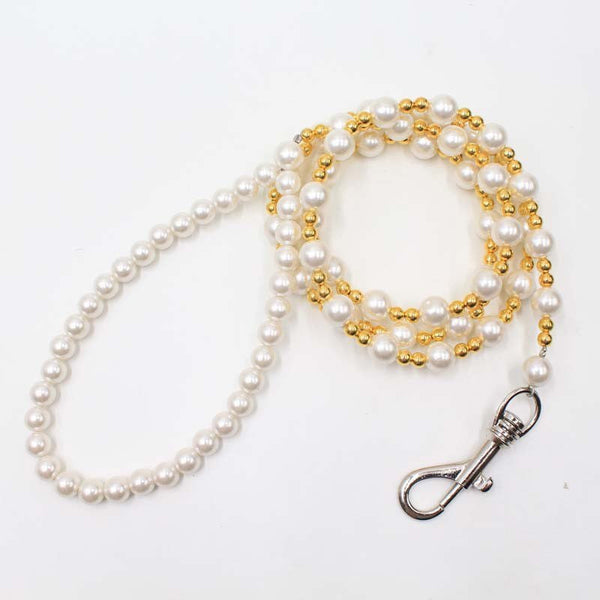 "Steel Luxury Acrylic Pearl Dog Leash ""All Proceeds Goes Towards Saving Animals"""