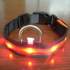 High Quality! Vogue Safety Adjustable Pets Dog LED Lights Flash Night Waterproof Nylon Collar S-L