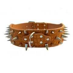 "2"" Wide Sharp Spiked Leather Collars -All Proceeds Go Towards Saving Animals"
