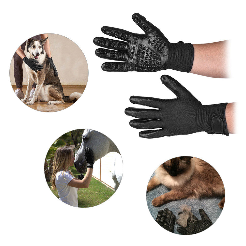 Pair of Pet Grooming Gloves Left Right Enhanced Five Finger Design Gentle De-Shedding Brush for Large Pet Dogs Horses