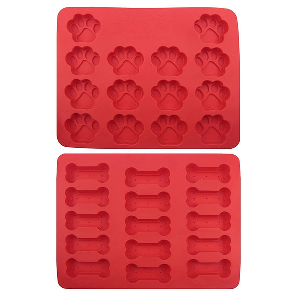 2pcs Dog Bone & Footprint Cookie Bake Mold No Stick Siliconce Cake Mold Molding