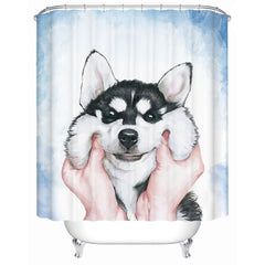 Husky Puppy Shower Curtain-All Proceeds Goes Towards Saving Animals