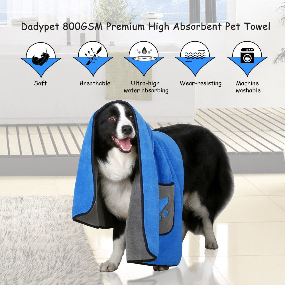 Dadypet 800GSM Pet Drying Microfiber Towel Super Soft Two-sided Microfiber Bath Towel Ultra-High Water Absorbing for Pet Dog Cat Unfolded 40 * 28 Inch