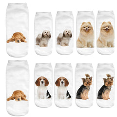 Women 3D Cartoon Funny Crazy Cute Dogs Amazing Novelty Print Ankle Socks