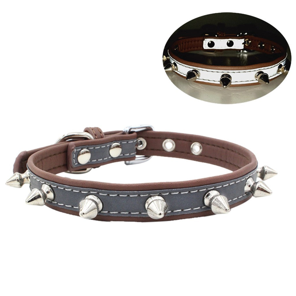 Exquisite Adjustable Reflective Rivet Dog Puppy Pet Collars XS-L