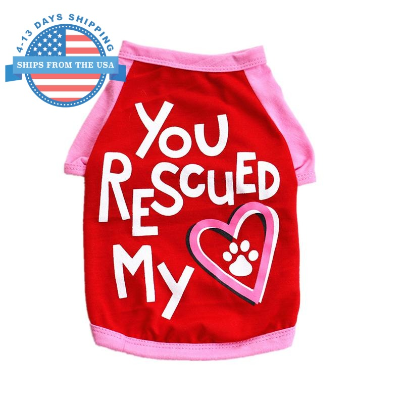 You Rescued My Heart Dog Shirt Red / S Clothes