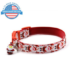 Fun Printed Collars For Pets Red Santa / Leashes