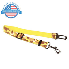 Camouflage Car Seat Belt Lead Clip For Pets Yellow Collars / Leashes