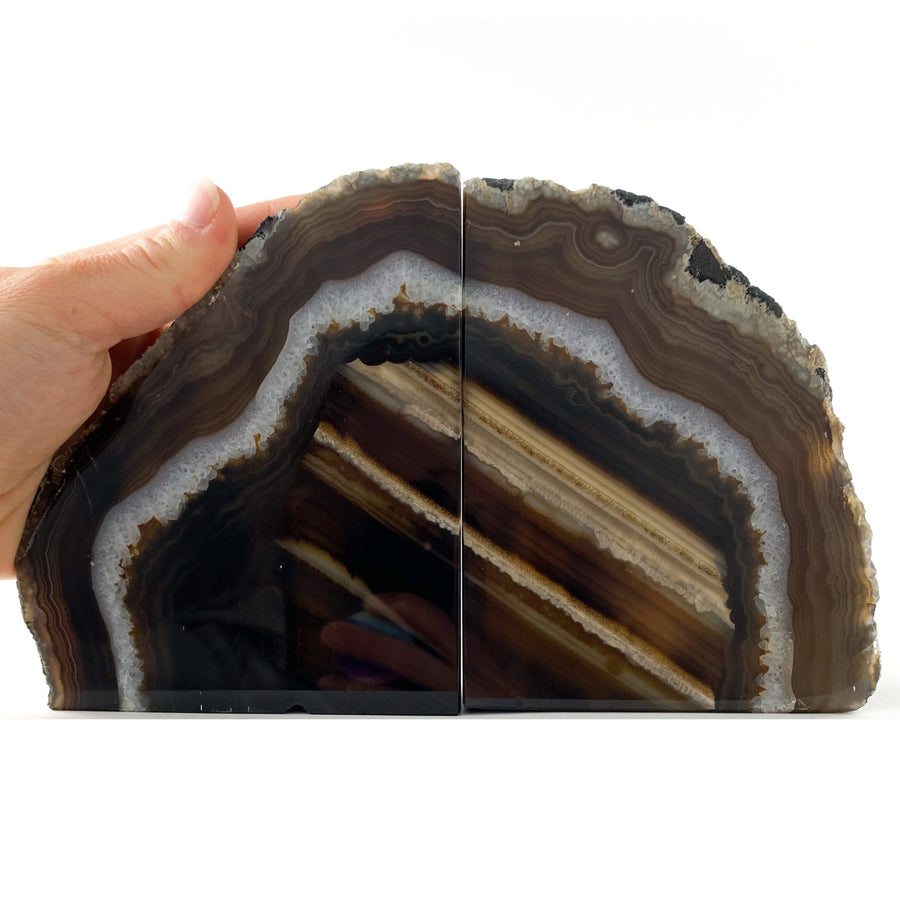 Natural Brown Banded Agate Geode Bookends from Brazil