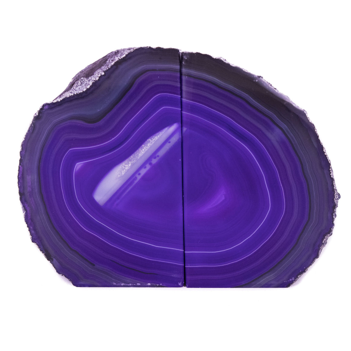 Purple Banded Agate Geode Bookends from Brazil