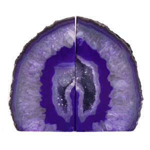 Purple Banded Agate Geode Bookends with Quartz Crystal Pocket from Brazil