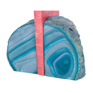 Teal Banded Agate Geode Bookends from Brazil