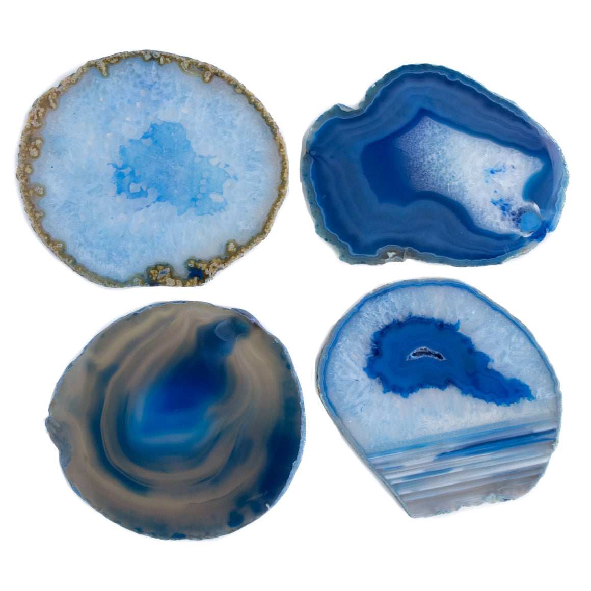 Blue Banded Agate Geode Coasters Set of 4 from Brazil